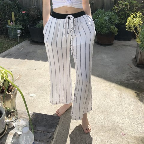 4e68fa5c4b7d8 Insanely comfy white and blue striped pants. A little see up - Depop