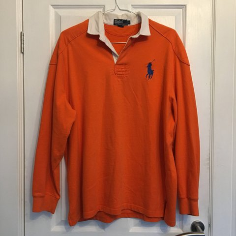3fe8edf558b @_redwood_. last year. Loughborough, United Kingdom. Vintage orange Ralph  Lauren rugby shirt with white collar ...