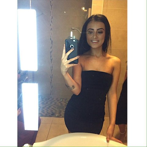 ad010ce0174c @katieparker1. 2 months ago. Castlemartyr, Ireland. Missguided black slinky  layered bandeau mini dress ...