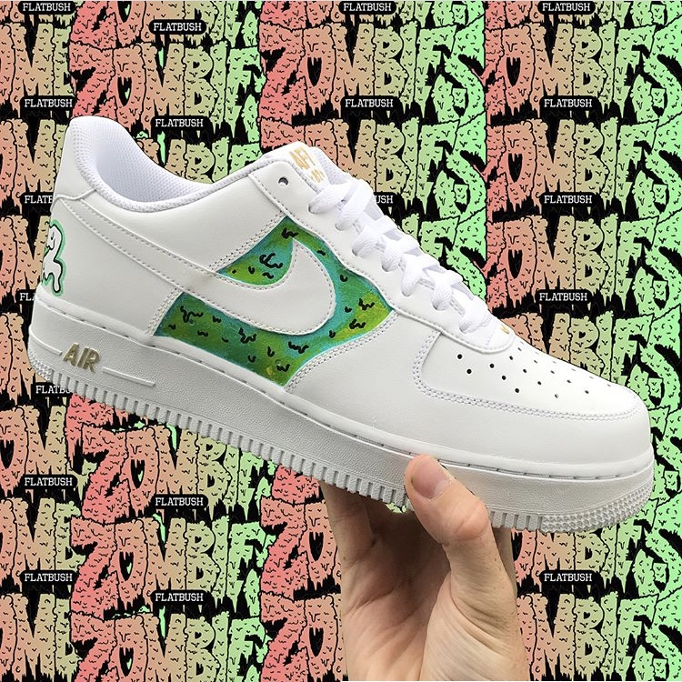 9e50a4d2bf7d9 Custom painted Nike Air Force ones with flatbush... - Depop