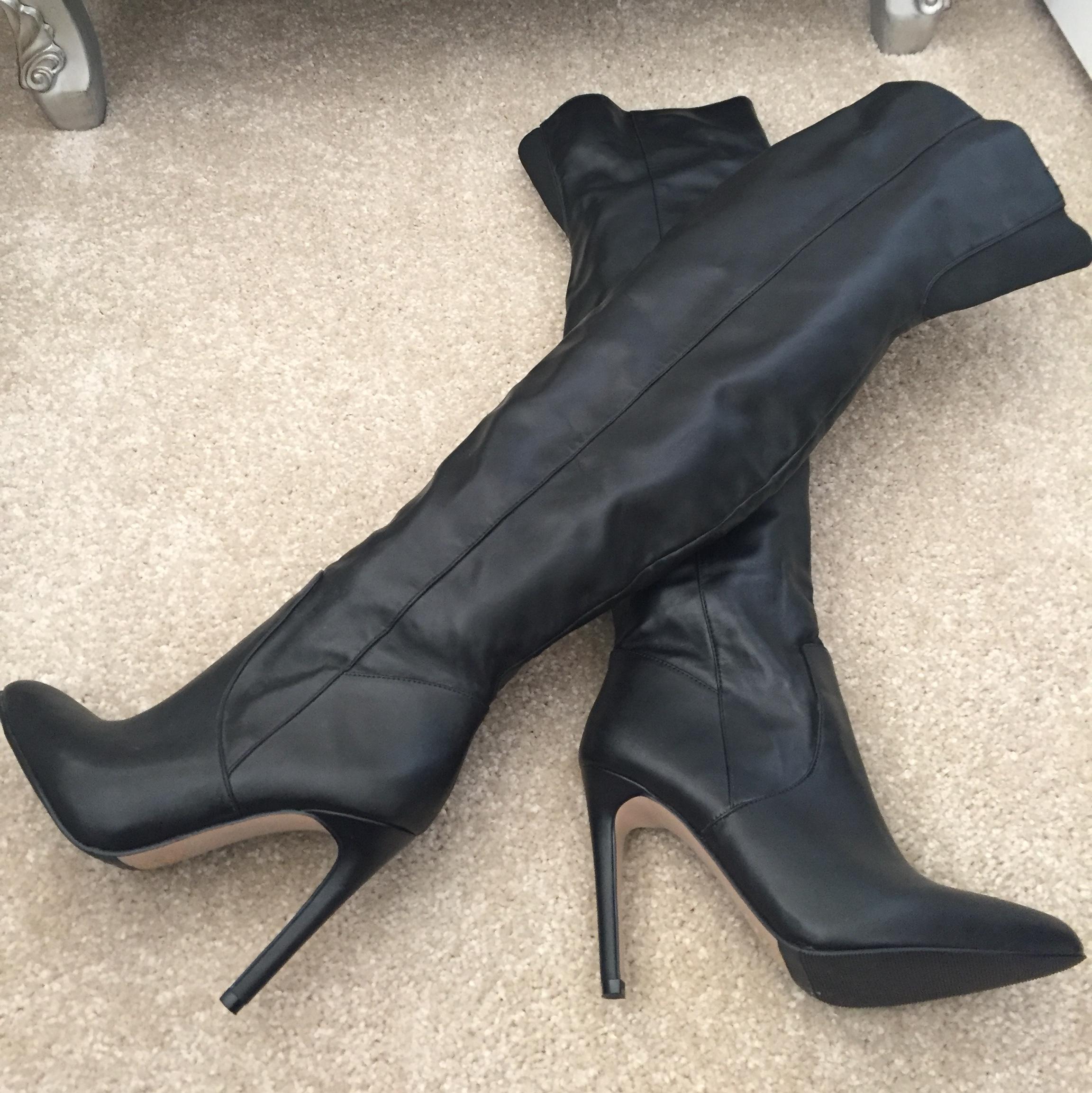 ALDO black leather thigh high boots