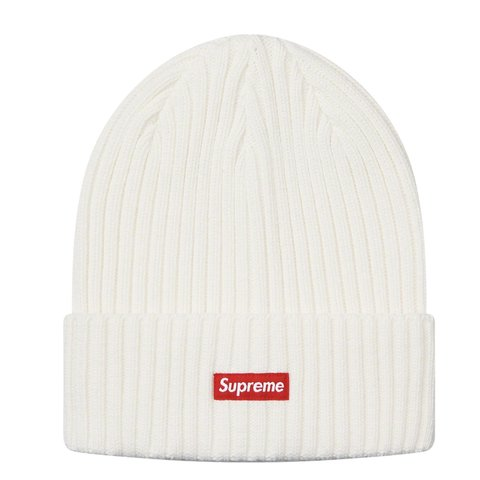 96d7ffe4cecf7 Supreme overdyed beanie WHITE with Red box logo all in - Depop