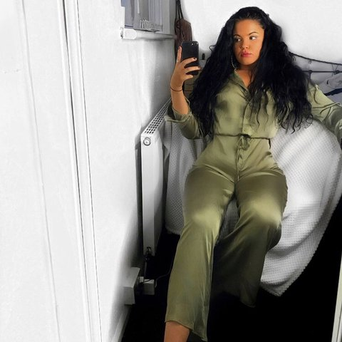 80ab7f8017d9 Fashion nova jumpsuit worn once for pic ❤ it s a size S but - Depop