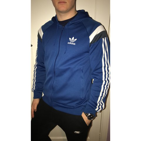 Blue Adidas Originals Zip Up Jacket Size Medium Good Depop