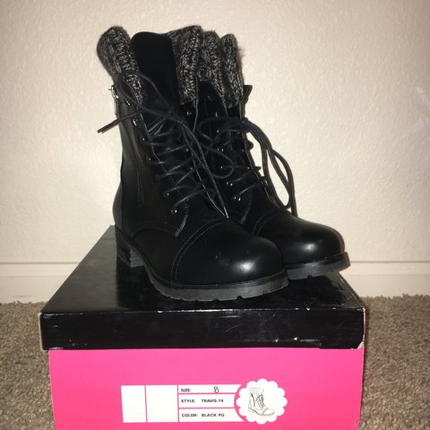 c920f6b711e089 Brand-new lace-up black combat boots with cloth top from in - Depop