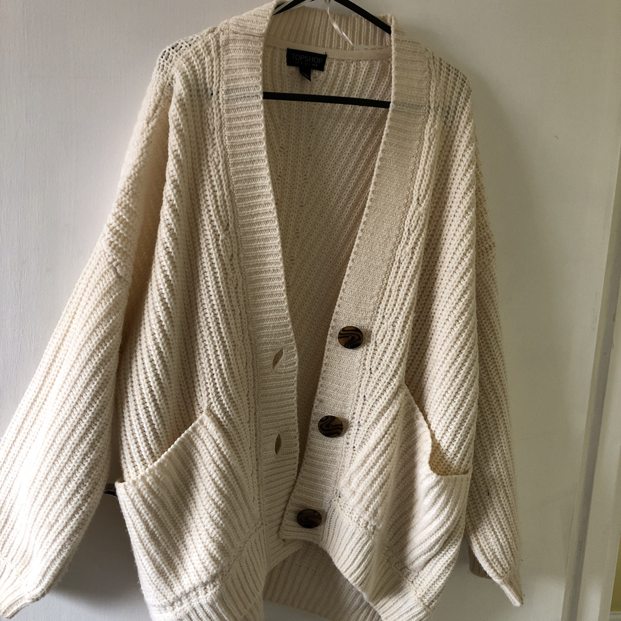 Topshop oversized cream chunky knit cardigan with Depop