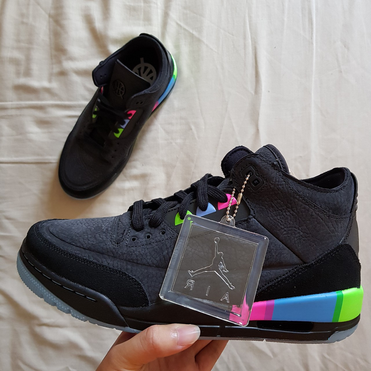 pretty nice d2a07 1901b AIR JORDAN 3 RETRO SE QUAI 54 SIZE UK8 and UK7... - Depop