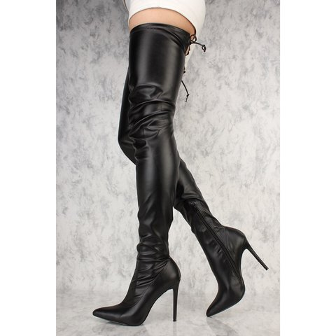 677cfb60bccf  asapsalma. 3 months ago. United States. Forever 21 Thigh High Heel Boots  in Black Faux Leather ...