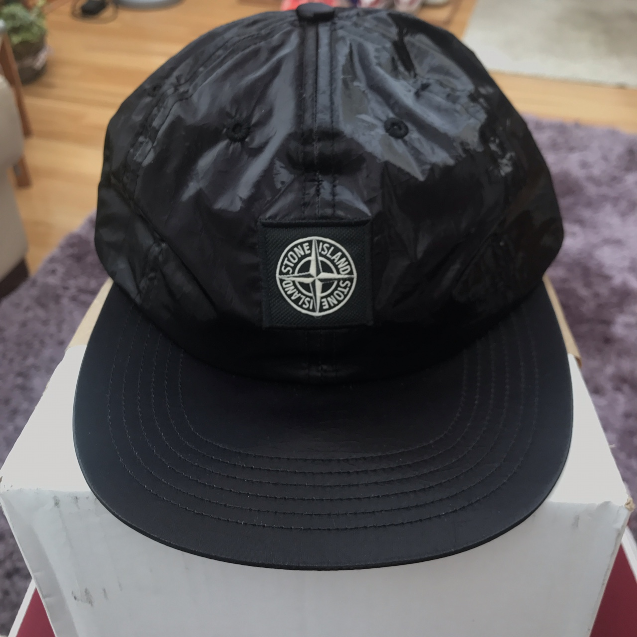 8ceb3970b Supreme x Stone Island Silk Light 6-Panel Black -... - Depop