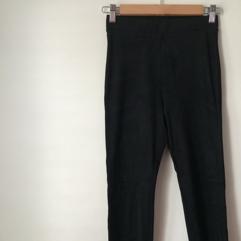 d860a378197fcb @pennymayj. last year. Cheshire, UK. H&M Black Faux Suede Front Leggings ...