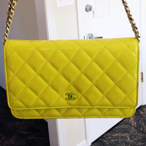 f6565922478b Chanel WOC/ wallet on chain in lime yellow. Beautiful bag - Depop