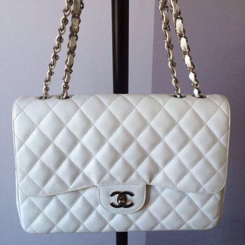 891b2c00735b AUTHENTIC CHANEL WHITE CAVIAR JUMBO SINGLE FLAP CLASSIC BAG - Depop