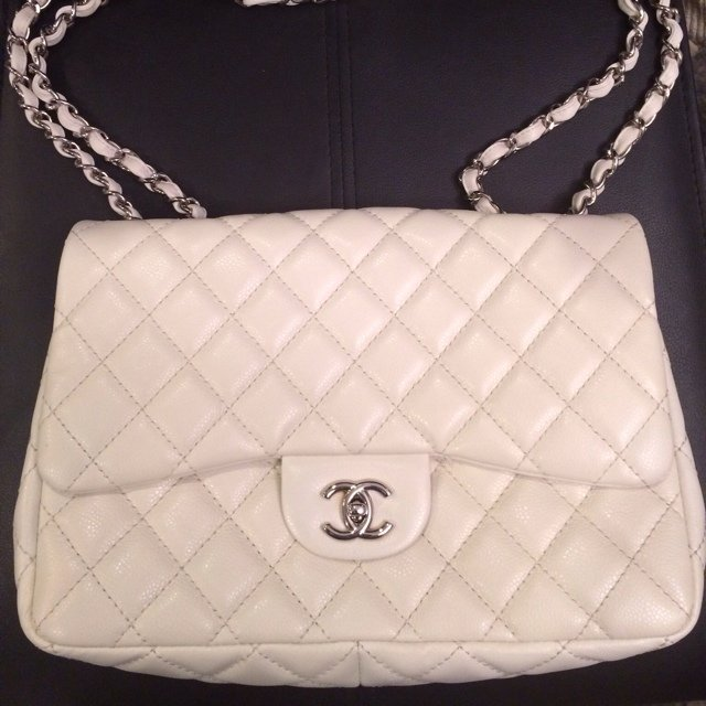 b6bc861f8254 JUMBO Chanel classic flap bag in dark white. Absolutely on a - Depop