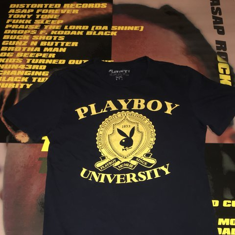bc23e8afc ♨️Playboy University T-shirt, Blue and gold ~Condition: Me - Depop