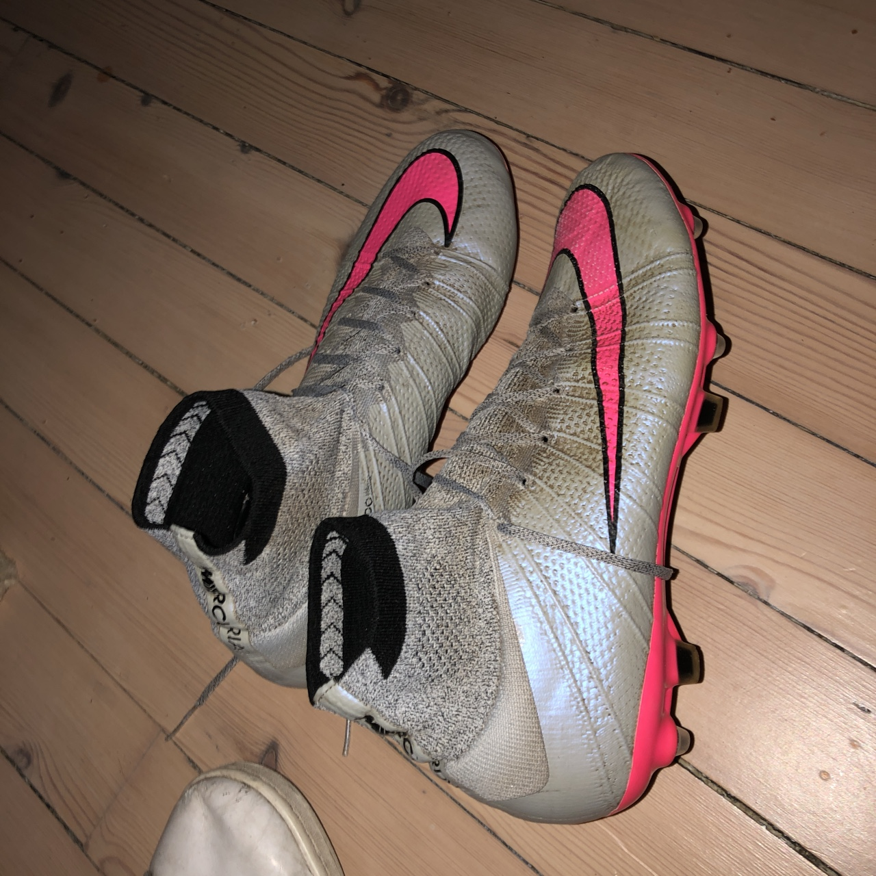 the best attitude 4eec6 e59c5 Nike mercurial superfly wolf grey and pink Sock... - Depop