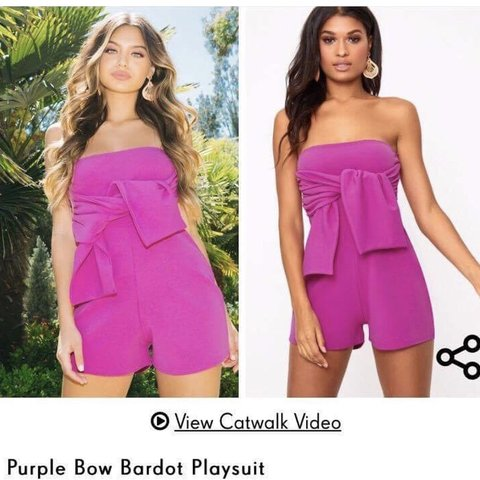 bc8589cc8c0 Tie front purple playsuit from pretty little thing in a size - Depop