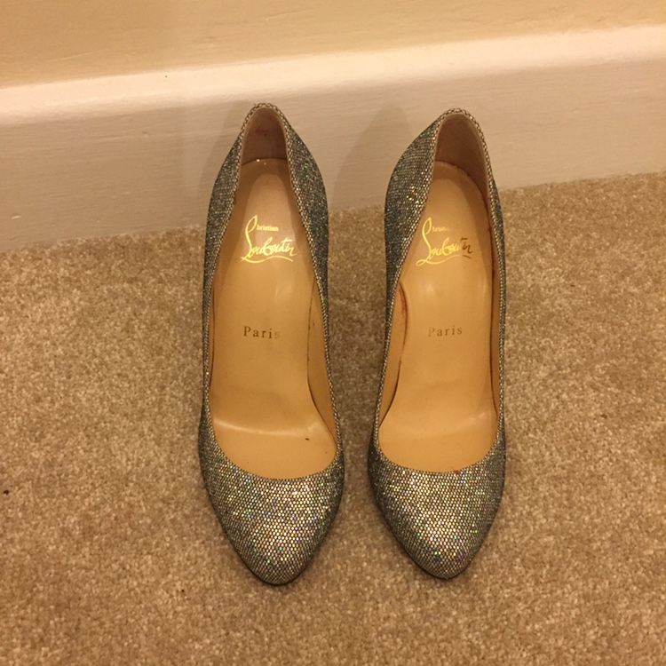 low priced df790 d8c64 Silver glitter Louboutin heels. Worn once but just... - Depop