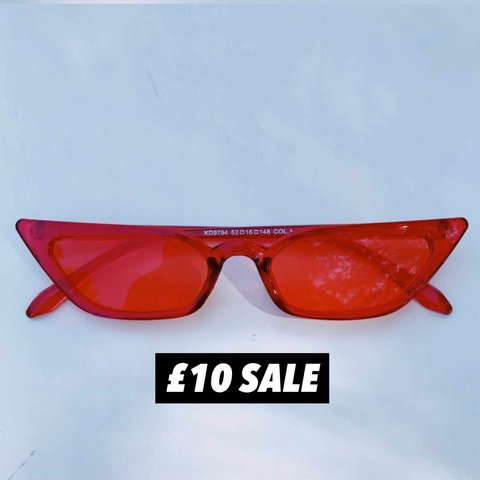 0861ee00d79 Vintage 90 s thin tiny sharp cat eye sunglasses. Red lens a - Depop