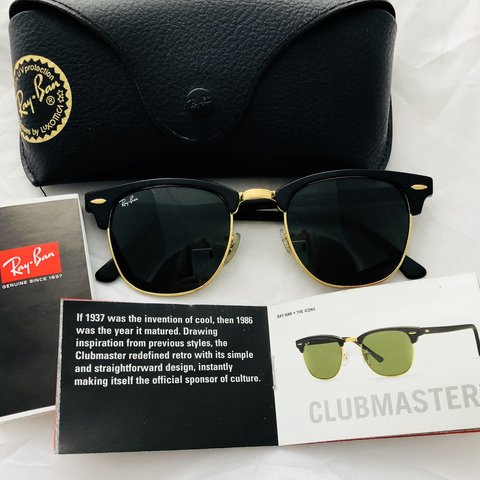 837c9e167d RAY-BAN CLUBMASTERs. Retro   timeless. Black with gold   - - Depop