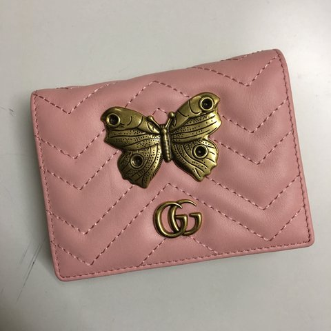 2a9eec1da505f4 @elaineehfar. last year. Exeter, United Kingdom. Gucci Pink Leather  Butterfly Hardware Wallets