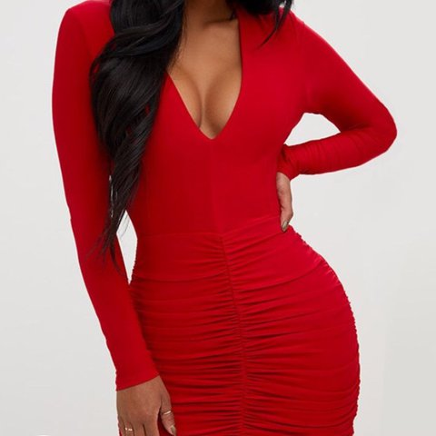 f5644a4d90d Selling my red slinky plunge dress from prettylittlething so - Depop