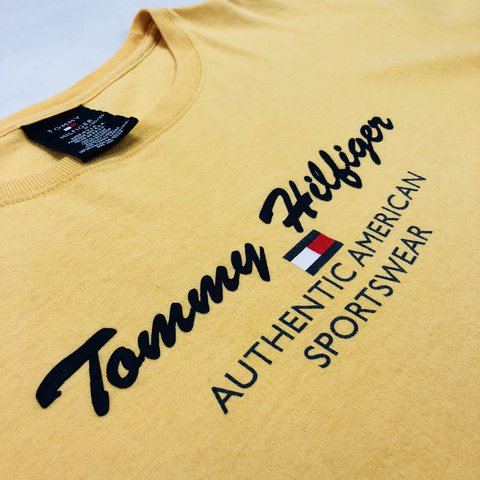 d595e51d0cff Vintage Tommy Hilfiger T Shirt XL Yellow Flag Logo Spell Out - Depop