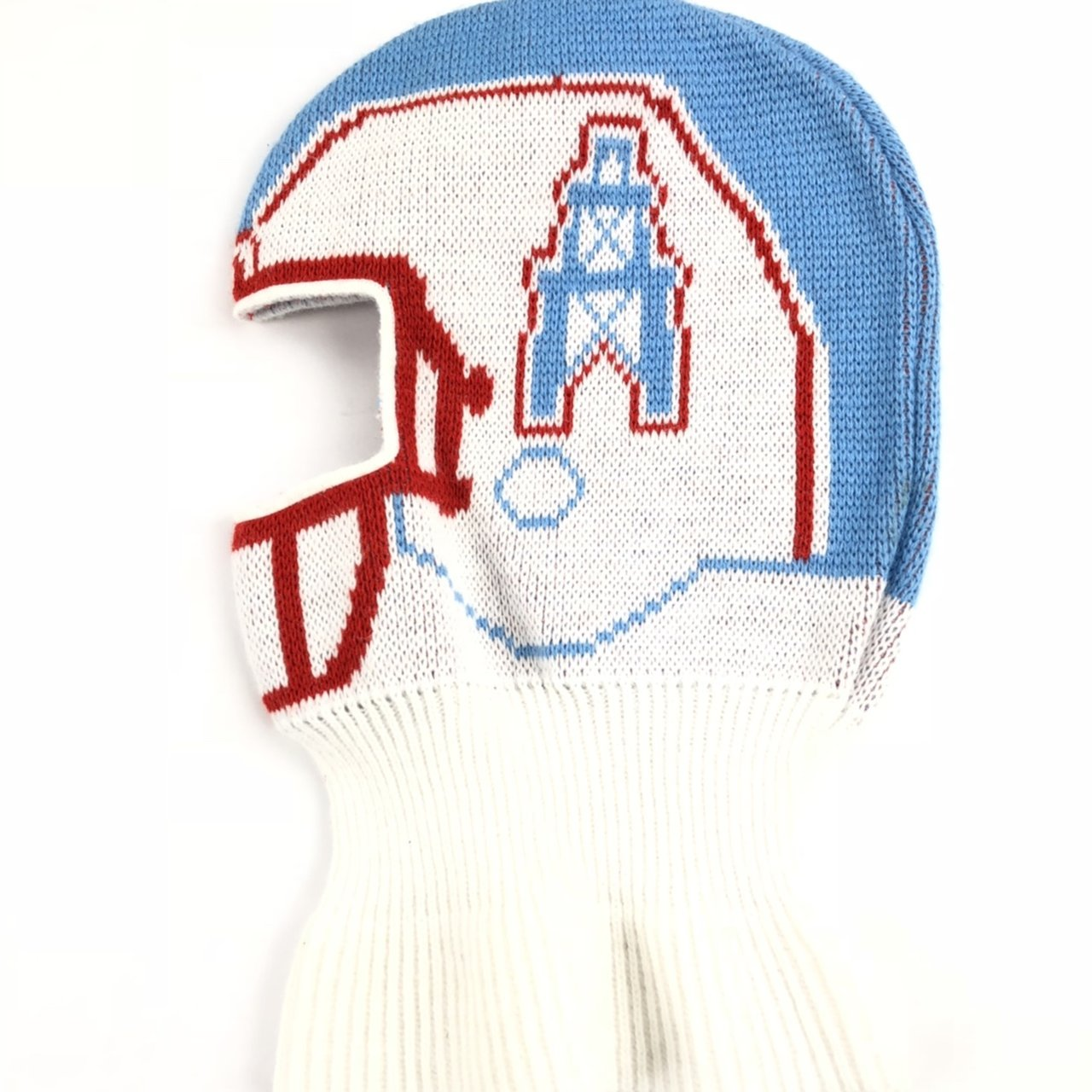 f5e408640e3 vtg Houston Oilers Titans NFL 90s Game Face Knit Ski Mask - Depop