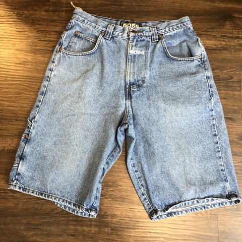 ef6365f11 Boss 90s Jean Shorts 34 Waist Spell Out Baggy Hip Hop VTG on - Depop