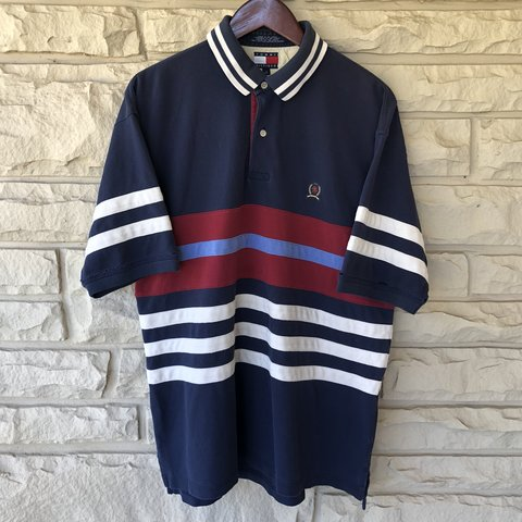 8bf080a19 @thriftclout. 9 months ago. Decatur, United States. Vintage 90s Tommy  Hilfiger Jeans Color Block Polo Rugby Shirt Size L ...