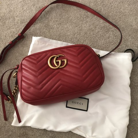 3f5db6405bc2 Gucci marmont small shoulder bag £885. Used 2/3 times - Depop
