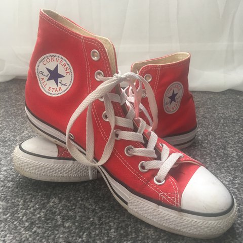 2acccef0b21 🌹RED CONVERSE🌹 Size 7 Hardly worn at all you can tell by - Depop