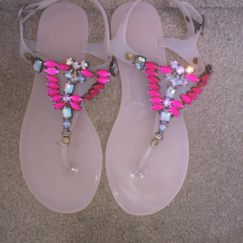 e24a56bfbd4a RESERVED  Lipsy London pink jelly sandals. Melanie flip for - Depop