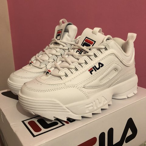3d1be91e11ad FILA Disruptor II premium white leather trainers size UK 3 - - Depop