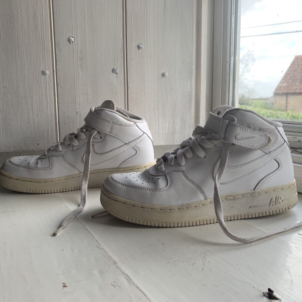 Used White Nike Air Force 1 High Tops Size Depop