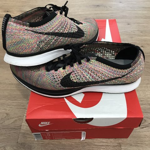 bc8e8d90f31b6 Nike Flyknit Racer Multi-color 2.0 grey tongue Size US 11 UK - Depop