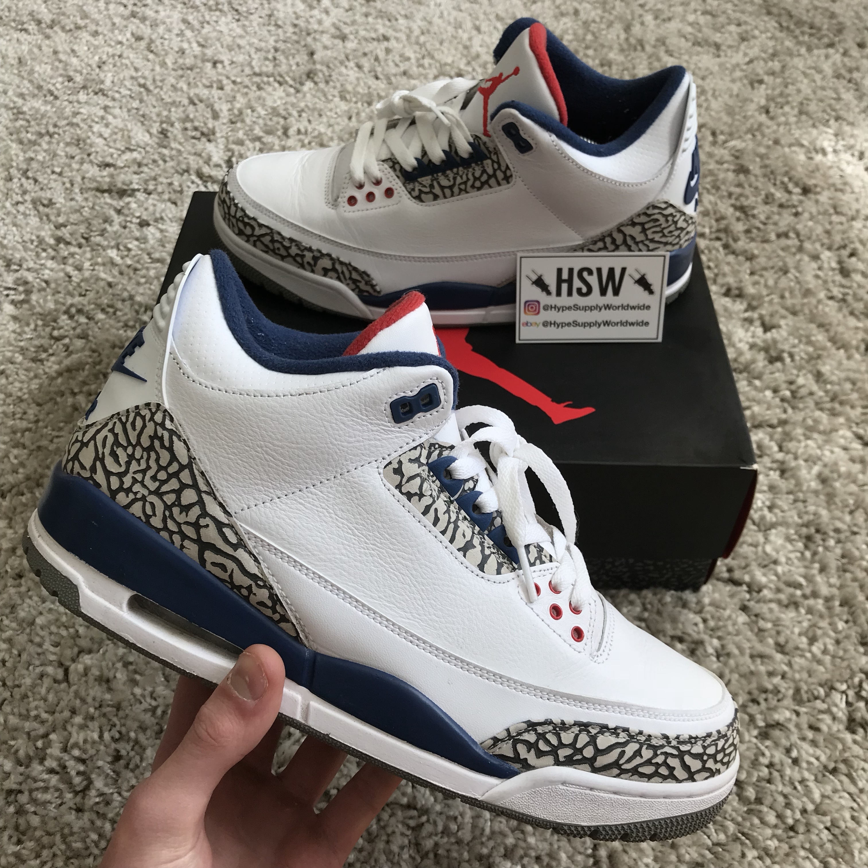 1429406cf55079 Nike Air Jordan 3 Retro OG High True Blue. Size UK 9 but fit - Depop