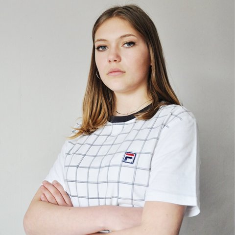 9467b277991d Lily wears 💗  Vintage Fila tshirt   tee   top • White with - Depop
