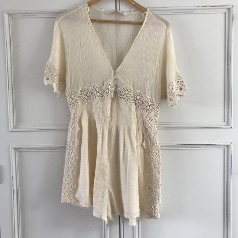 7f8c1aefed7 ✨ ZARA cream   beige lace crochet playsuit   coverup. Fully - Depop