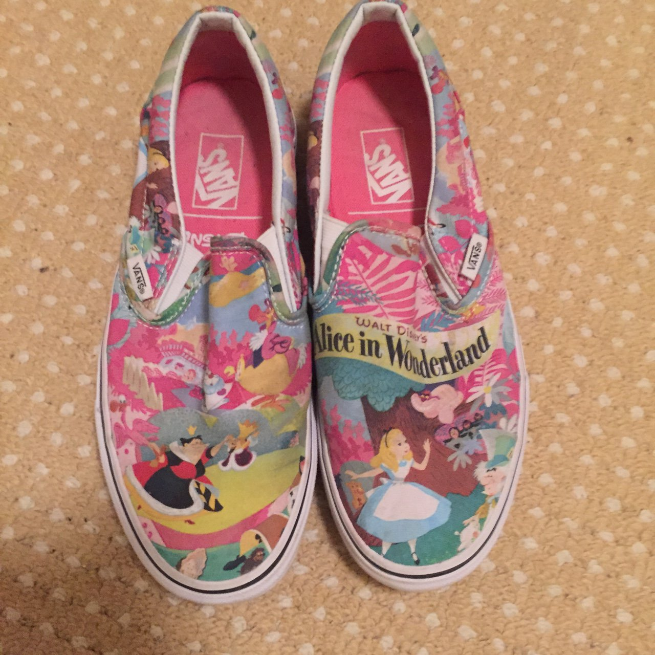 72626b8b0cd6 Disney x Vans slip on Alice in wonderland shoes Hardly worn - Depop