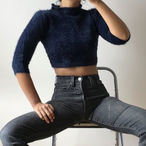 9276cb0496b6c Midnight Blue Fuzzy Crop Sweater PRICE DROP ORIGINALLY XS. - Depop