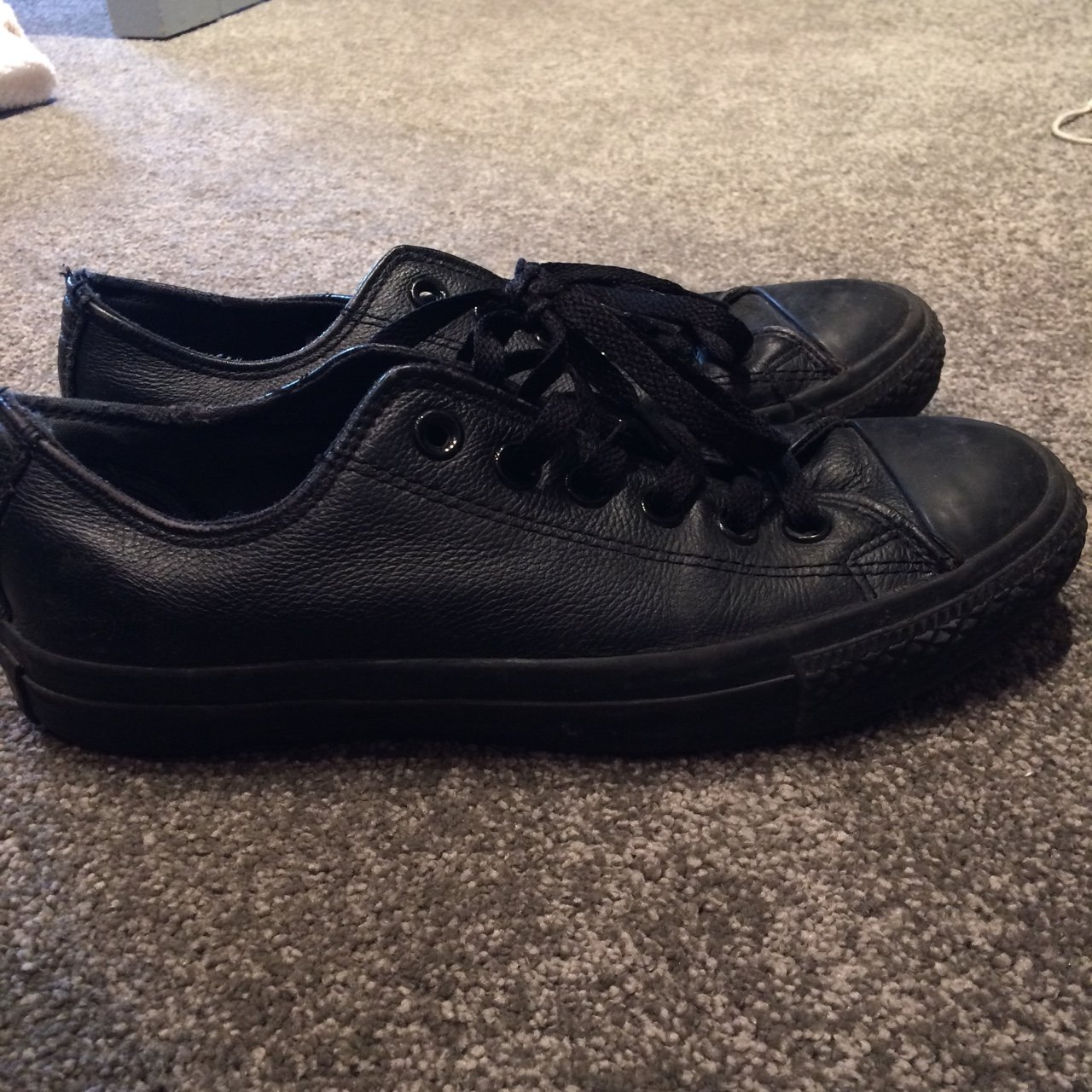 a3dc680b9a9728 Black Leather Converse. Size 5. perfect condition. - Depop