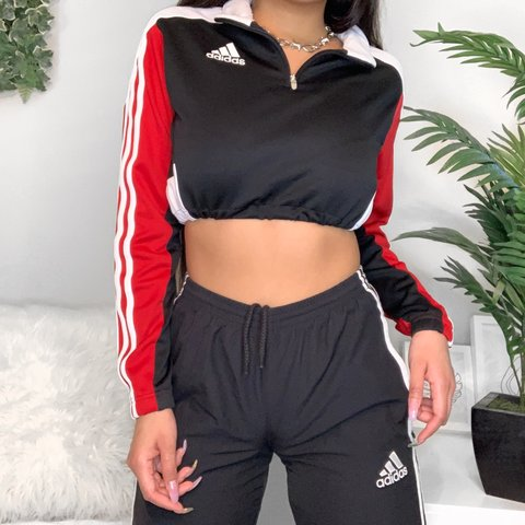 6254863162c1c  kesh lee. last month. United States. Dope Adidas 3 striped cropped long  sleeve ❤ Navy
