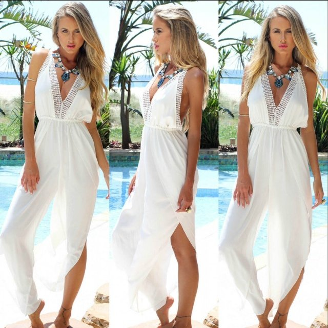 a89b577bb1 @chicboutiquex. 5 years ago. Bexley, United Kingdom. Jumpsuit sheer beach  cover ups ...