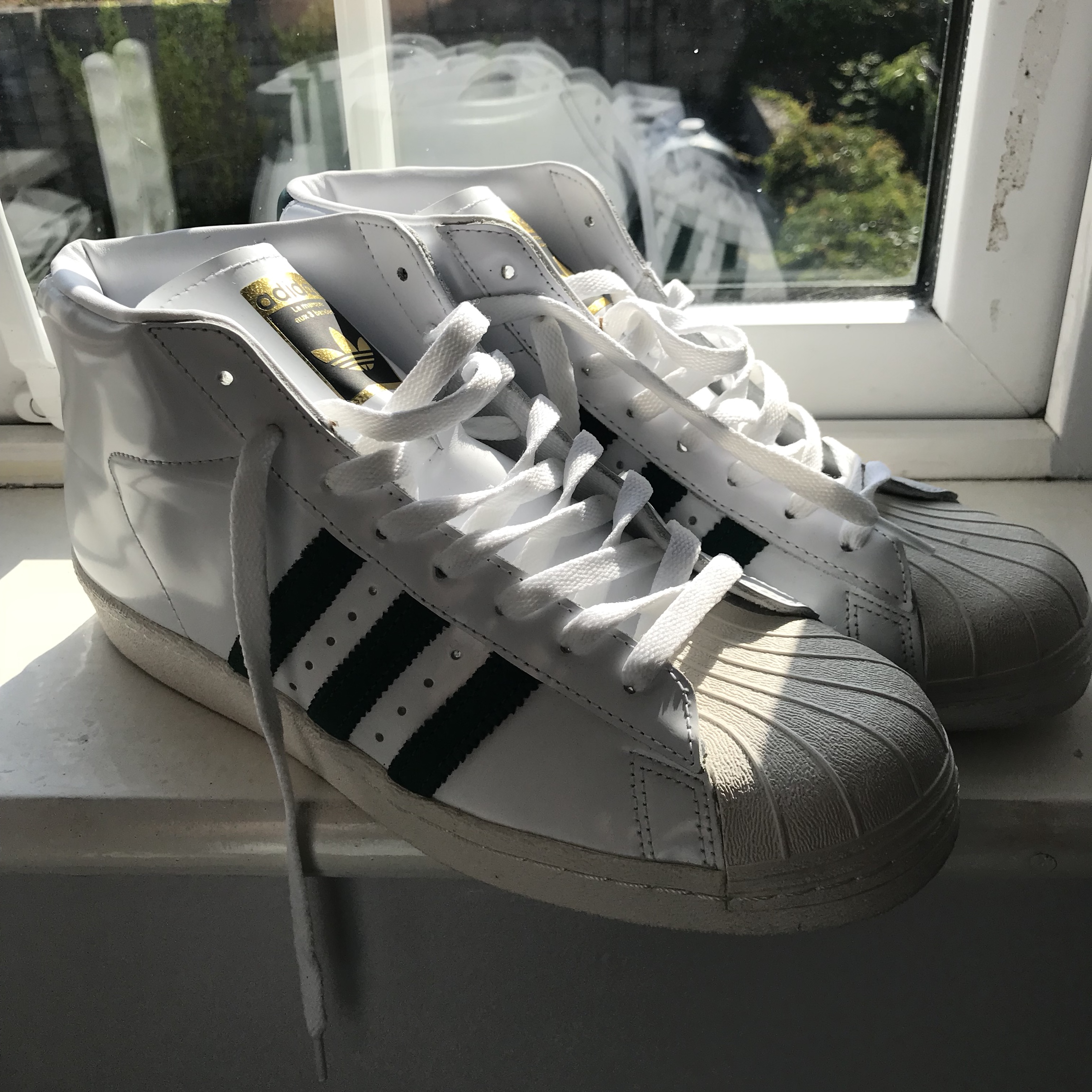 wholesale dealer 10f65 a38f2 Adidas high-top superstars. Shiny white faux leather... - Depop