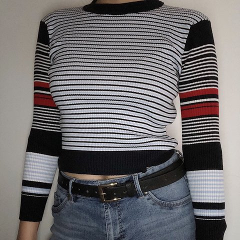 0ed9ff24ac @angmm08. 5 months ago. New York, United States. BLUE / RED STRIPED SEMI  CROPPED LONG SLEEVED SWEATER ...