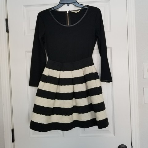19cd811ddd Black and white stripe fit and flare dress... knit top with - Depop