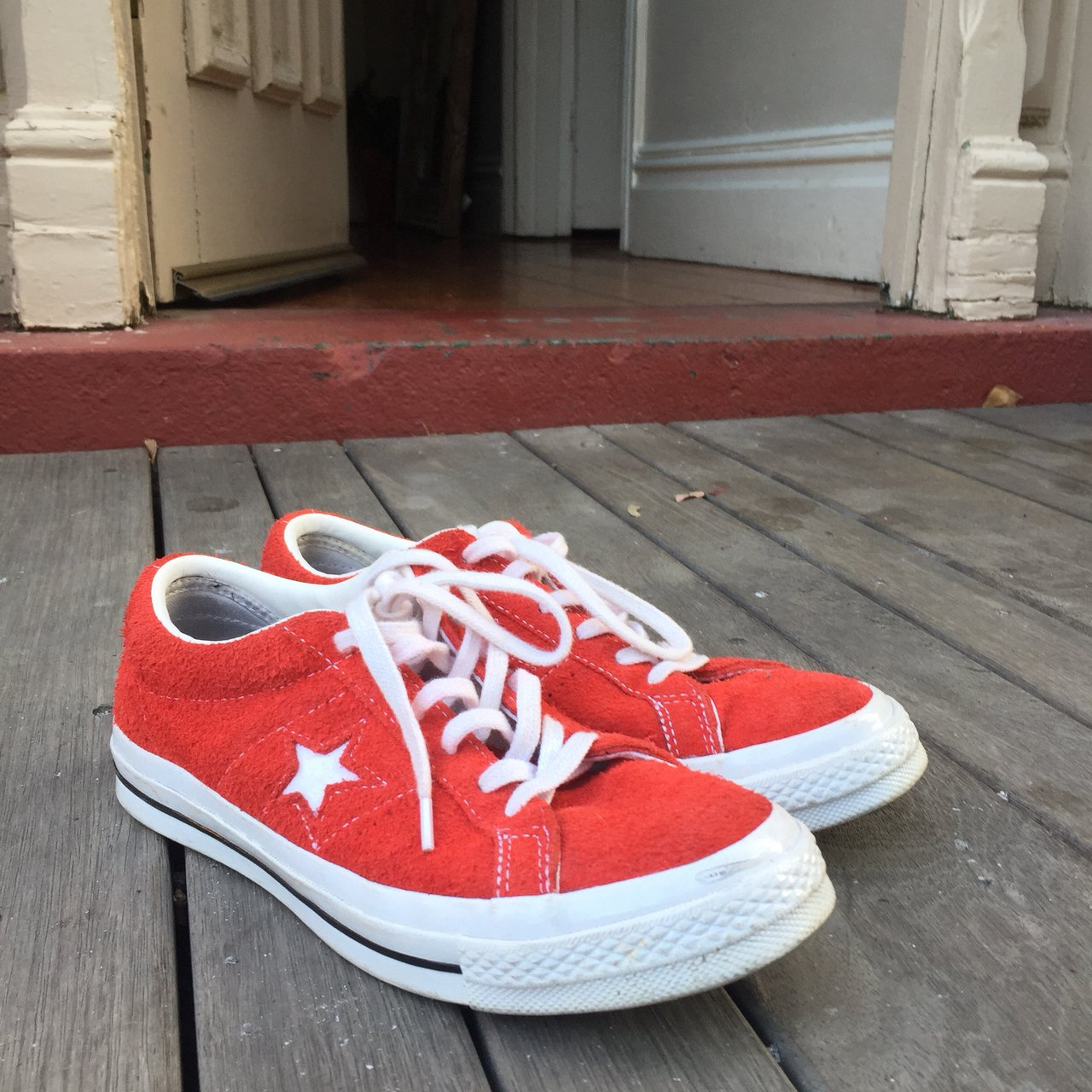 fd9f98d94b1712 Converse One Star Premium Suede Low Top in Red In V Good me - Depop
