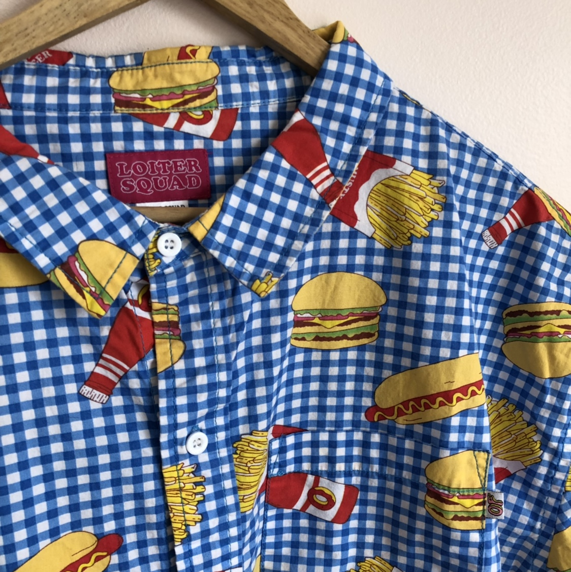 OG loiter squad button up  Burgers, fries, ketchup    - Depop