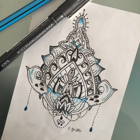 Quick Hand Drawn Tattoo Design Can Neaten It Up A5 With Depop