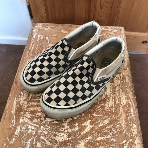 a6f60a245d Women s Vintage Vans Checkerboard Slip Ons Size but to - Depop